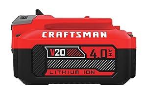 CRAFTSMAN V20 Lithium Ion Battery, 4.0-Amp Hour, 2 Pack (CMCB204-2)