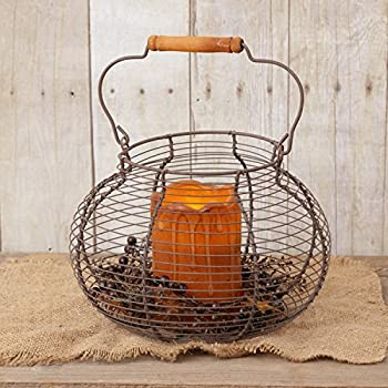 Your Hearts Delight Round Wooden Handle Wire Basket, 10-Inch