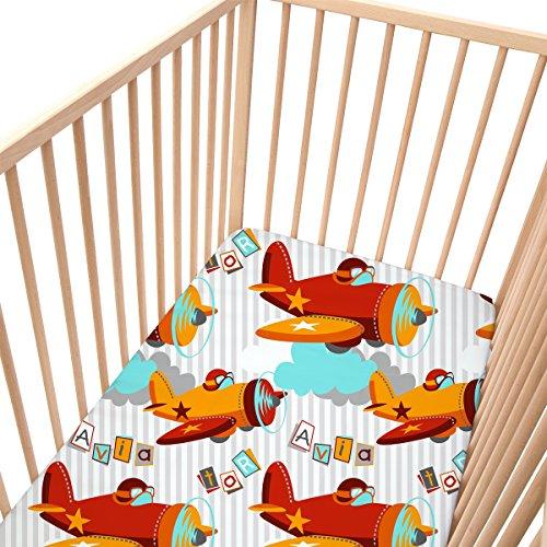 Baby Aviator - SoulBedroom 100% Cotone Lenzuola per culle e lettini bambino 70x140 cm, Confezione da 2