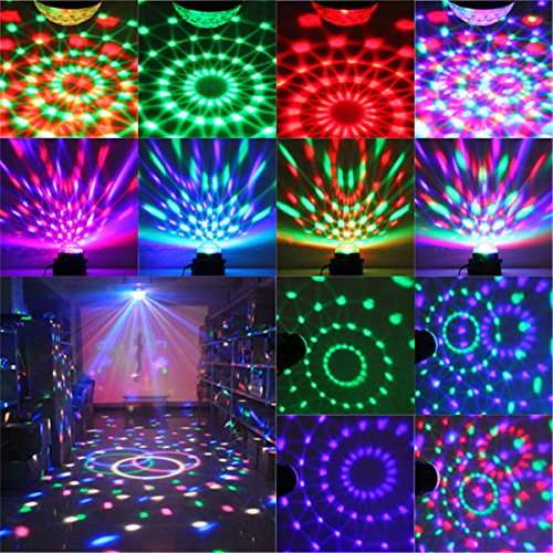 DJ light Sound Activated Party Lights Disco Ball - KINGSO Strobe Club lights Effect Magic Mini Led Stage Lights For Christmas Home KTV Xmas Wedding Show Pub - RGB 3W 7Color