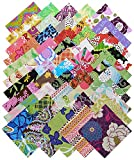 50 Piece FREE SPIRIT Quilt Shop SAMPLER Precut 5-inch Cotton Fabric Quilting Squares Charm Pack Assortment Floral Flowers Butterflies