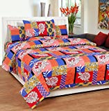 Soni Traders Floral Print Polycotton Double Bedsheet With 2 Pillow Covers (BST_170)