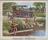 1910 White Gas Touring kids swimmin' hole Humble Oil calendar print 1960s