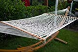 BIG SALE Merax White 60-Inch Cotton Hardwood Spreader Bar Patio Yard And Camping Hammock