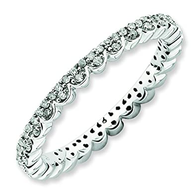 Stackable Expressions Size 8 - Diamond Lace 2.25mm Eternity Band Sterling Silver Stackable Ring UK Ring Size - P