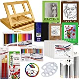 US Art Supply 134-Piece Deluxe Acrylic Painting & Sketch Drawing Set with, Wood Drawer Table Easel, 12-Tubes Acrylic Colors, 11x14 Acrylic Painting Paper Pad, 6-each 8x10 Canvas Panels, 22 Artist Brushes, Plastic Palette with 10 Wells, Wooden Pallete, 36-Piece Multimedia Pencil Set, 50-Piece Assorted Color Pencil Set, 9x12 Drawing Paper Pad, 9x12 & 5.5x8.5 Spiral Sketch Paper Pads, 5.5x8.5 Hardbound Sketchbook & Now Includes a FREE Color Wheel-Great Student Artist Starter Set by US Art Supply