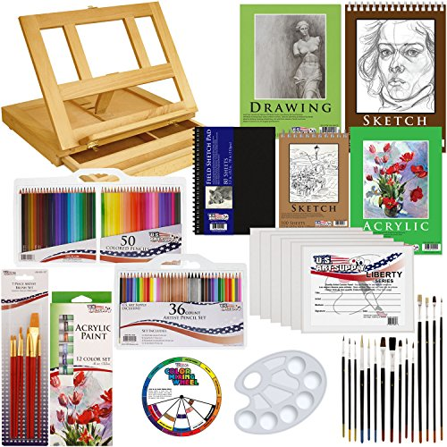 Us art supply 134 piece deluxe acrylic painting sketch for Acrylic mural paint supplies