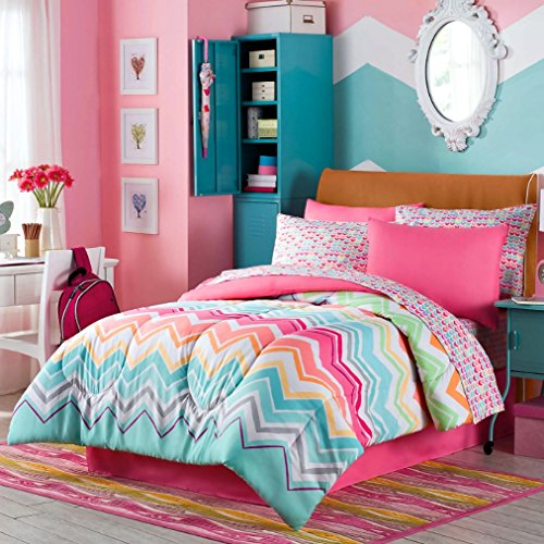 Happy Chevron Girls Full Comforter