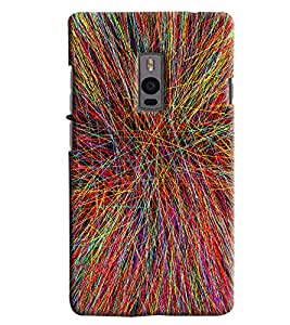 Blue Throat Colored Stripes Effect Printed Designer Back Cover/ Case For OnePlus 2