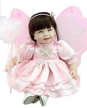 Nicery Charmant Poupée haute teneur en vinyle 22 pouces 55cm qui semble vivant Garçon Fille Jouet Fairy Magic Rose
