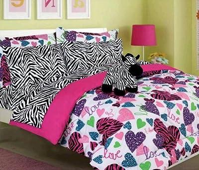Girls Kids Bedding - Misty Zebra Bed in a Bag Comforter Set
