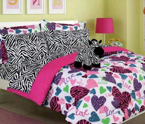Girls Kids Bedding -Misty Zebra- Bed In A Bag Comforter Set - Twin front-15116