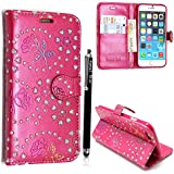 FOR APPLE IPOD TOUCH 4 4TH GEN STYLISH PINK CRYSTAL DIAMOND BLING LEATHER FLIP COVER CASE POUCH