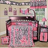SISI Baby Girl Boutique - Pink Zebra 13 PCS Crib Bedding