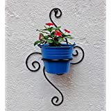 Green Gardenia Iron S Wall Bracket With Bucket-Light Blue