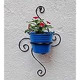 Green Gardenia Iron S Wall Bracket With Bucket-Light Blue