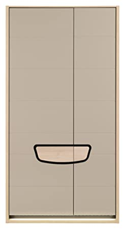 ELENA large 2 door wardrobe closet with shelves hanging clothes rail in beige gloss and beech wood effect colour bedroom living room furniture