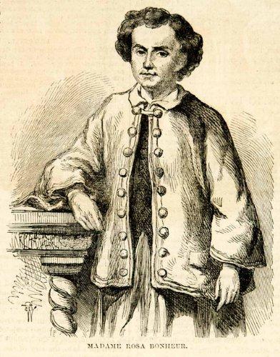 1857-wood-engraving-rosa-bonheur-artist-smock-costume-painter-marie-rosalie-lady-original-in-text-wo