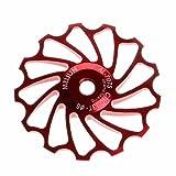 OVERMAL 13T MTB Ceramic Bearing Jockey Wheel Pulley Road Bike Bicycle Rear Derailleur (Red) (Color: Red)