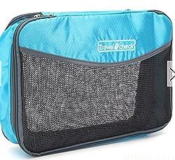Portable Folding Ventilate Fabric Clothing Bra Socks Organizer Travel Storage Bag (Blue)