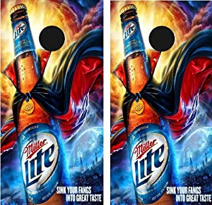 "Miller Lite Wrap set, 2 decals 24x48"" Graphics for cornhole baggo bag toss boards game NEW !!"