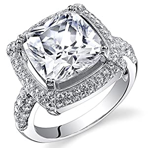 Revoni Sterling Silver Halo Design Cushion Cut Simulated Diamond Engagement Ring Size N,