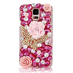 Samsung Galaxy Note 4 Case, Sense-TE Luxurious Crystal 3D Handmade Sparkle Glitter Diamond Rhinestone Ultra-Thin Clear Cover with Retro Bowknot Anti Dust Plug - Butterfly Rose / Hot Pink