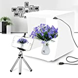 Mini Photo Studio Box,Portable Shooting Tent Box,Small and Compact White Bright Led Light Box with 20 LED Lights + 6 Backdrops for Product Display (24x23x22cm) (Tamaño: standard)