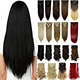 S-noilite 8PCS/SET Full Head Clip in Hair Extensions 140Grams Thick Real Natural Synthetic Hairpiece (26inches-straight, Jet Black) (Color: Jet Black, Tamaño: 26