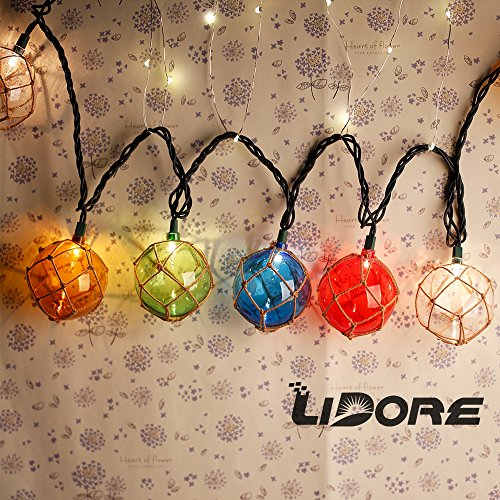 Lidore set of 10 new nautical fishing floats coastal buoy for Fish string lights
