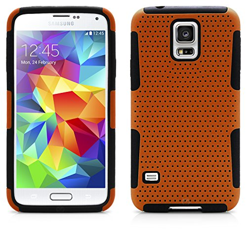 Galaxy S5 Case, MagicMobile® Dual Ultimate Protection Shockproof Impact Resistant Case for Samsung Galaxy S5 Hybrid [Orange] Soft Flexible Silicone [Black] Hard Mesh Plastic Armor Cover for Galaxy S5