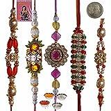 Little India Charming Gift To Brother Five Zardosi Rakhi Set Rakhi Raksha Bandhan Gift Band Moli Bracelet Wristband...