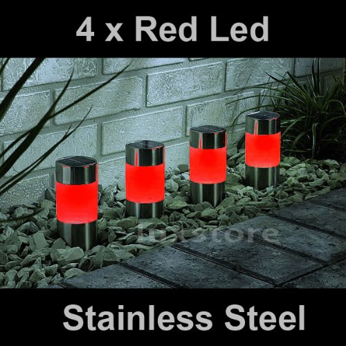4 x Red Solar Led Light Garden Path Marker Mini Bollard Patio Deck Decking- Stainless Steel - Mini Bollard