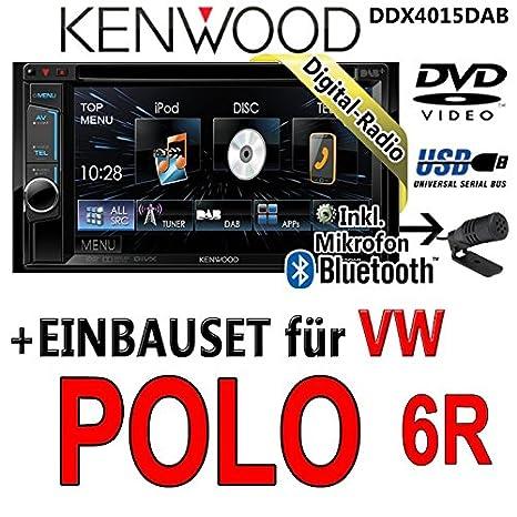 VW polo 6R-kenwood dDX4015DAB-cD uSB autoradio multimédia 2 dIN avec kit de montage