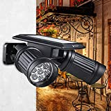 Vinus® Solar Powered Lights PIR Motion Sensor Dual Head Spotlight Adjustable Waterproof 14 LED Wall Light for Deck Yard Garden Driveway - Auto On/Off