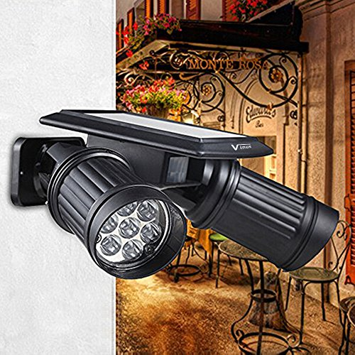 Vinus Solar Powered Lights PIR Motion Sensor Dual Head Spotlight Adjustable Waterproof 14 LED Wall Light for Deck Yard Garden Driveway - Auto On/Off (Motion Sensor Driveway Light compare prices)