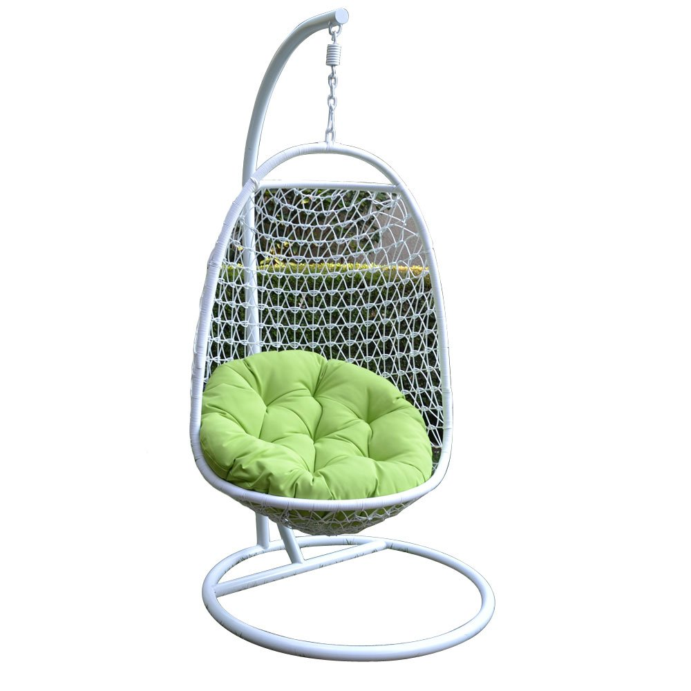 Wicker Rattan Swing Bed Chair Weaved Egg Shape Hanging Hammock Outdoor Patio-WHITE/LIME