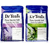 Dr. Teal's Epsom Salt Soaking Solution Bundle - 1 Relax & Relief Eucalyptus Spearmint 3lbs and 1 Sooth & Sleep Lavender 3lbs