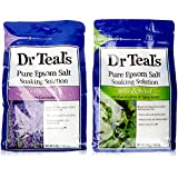 Dr. Teal's Epsom Salt Soaking Solution Bundle - Relax & Relief Eucalyptus Spearmint 3lbs and Sooth & Sleep Lavender 3lbs
