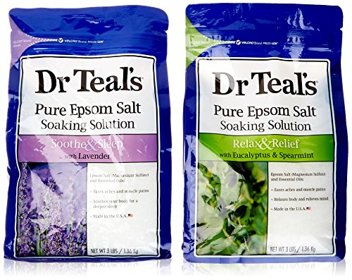 Dr. Teal's Epsom Salt Soaking Solution Bundle - 1 Relax & Relief Eucalyptus Spearmint 3lbs and 1 Sooth & Sleep Lavender 3lbs (Epsom Salts compare prices)