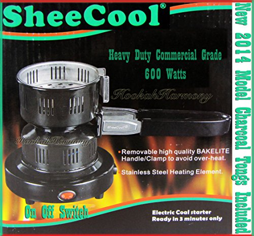Deluxe Coco Burner Hookah Electric Heater Stove Charcoal Coal Starter Sheecool Tongs (Hookah Coal Stove compare prices)