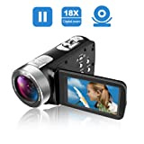 Camcorder Video Camera Full HD 24.0MP Camcorders Digital Camera 1080p 3.0'' Rotatable LCD for Vlogging Webcam Pause Function Dual LED Lights (Color: K3, Tamaño: SUN-S51)