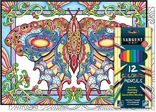 Butterfly Beauty - Color By Number Poster Set - Includes 12 Colored Pencils - 1