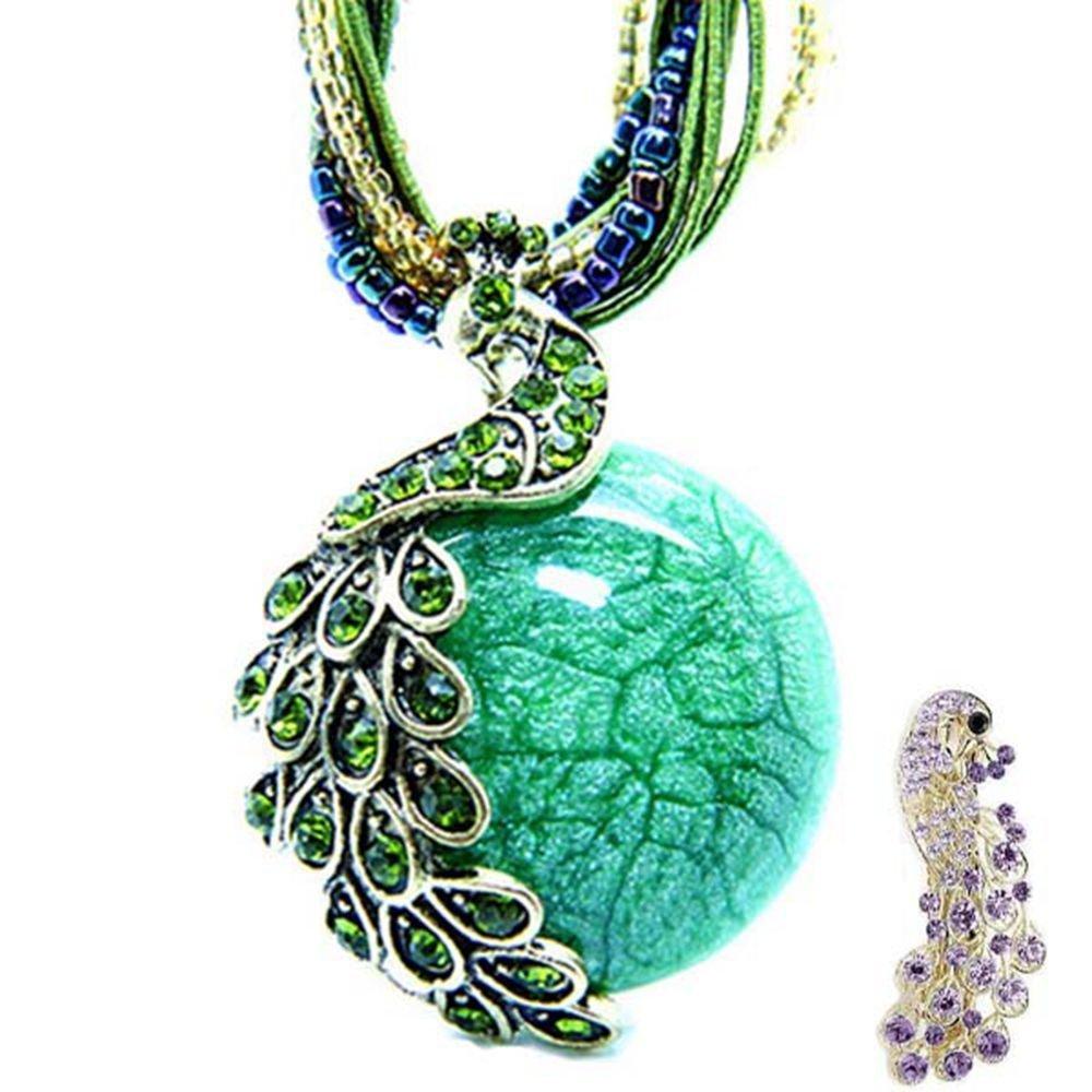 Zonman® Pretty Jewelry Retro Bohemia Style Pendant Opal Phoenix Peacock Necklace (A6)