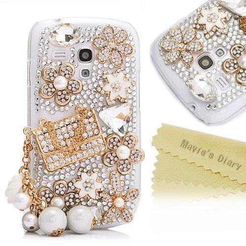 Mavis'S Diary New 3D Handmade Crystal Flower Diamond Bag Pearl Rhinestone Design Hard Case Cover For Samsung Galaxy S3 Iii Mini I8190 With Soft Clean Cloth