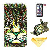 Se7enline Fashion Fresh Cute Flip Wallet Stand Case Cover for iPhone 6 with PU Leather and Card Slots,[3 in 1 Bundle] Case+ 2 piece HD Clear Screen Protectors+Soft Clean Cloth, Bohemian Tribal Totem Cat Pattern