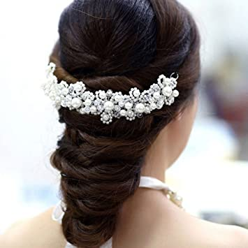 Voberry Deluxe Crystal Rhinestone Pearl Floral Bridal Wedding Hair Jewelry Bride Headdress DIY Wedding Dress Accessories
