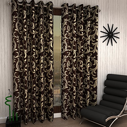 Home Sizzler Modern 2 Piece Eyelet Polyester Window Curtain Set - 5ft , Brown