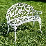 Belleze Cast Iron Antique Rose Style Design Outdoor Patio Garden Park Bench, White