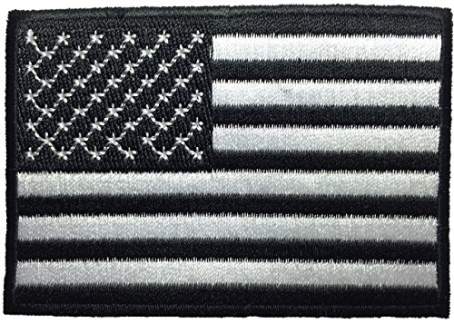 American USA Flag Applique Embroidered Patch Sew Iron on Military Uniform Emblem Black & White by Ranger Return (RR-IRON-USAF-NBOR-BKWH) (Uniform Numbers compare prices)
